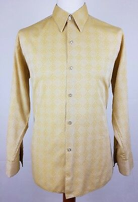 "Vtg 1970s Embroidered Pattern Long Sleeve Polycotton Shirt Mod Disco 17""/XL EY78"