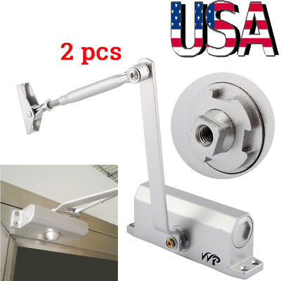 2pcs 45-60KG Automatic Hydraulic Arm Door Closer Mechanical Speed Control Up US