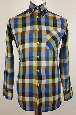 "Vtg 1970s Check Long Sleeve Slim Fit PolyCotton Shirt Mod Disco 15""/M EY84"