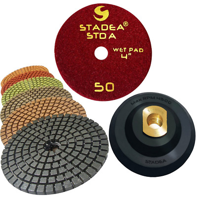 STADEA Premium Grade Wet 4 Diamond Polishing Pads Set + Rubber Backer For STONE