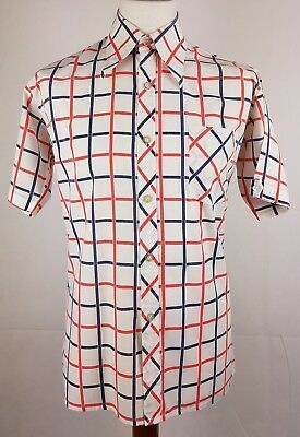 "Vtg 1970s S-Sleeve Windowpane Check PolyCotton Shirt Mod Disco Weller 16""/L EY89"