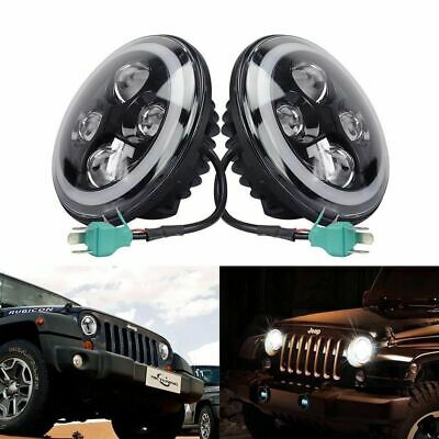 7 inch 200W CREE Round LED Headlights Jeep Wrangler TJ JK 97-17 Halo Angel Eyes