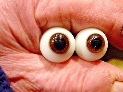 a pair vintage doll glass eyes size 18 mm for bisque doll doctor age 1910 A 1985