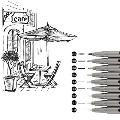 9pcs Ultra Fine Point Drawing Anti-Bleed Ink Fineliner Micro Line Pens TH826
