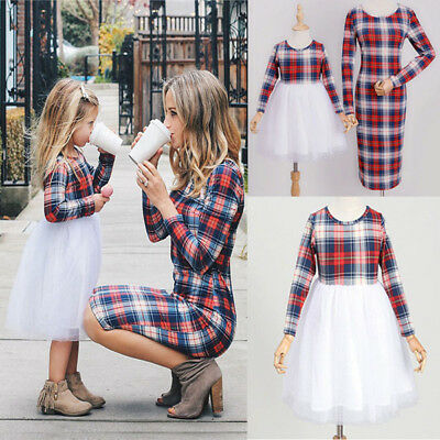 AU Mother And Daughter Matching Dress Women Girl Plaid Family Clothes TUTU Skirt