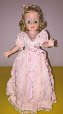 "Vintage 1950s Madame Alexander Cissette 9"" Doll in Lace Chemise + Pink Robe"