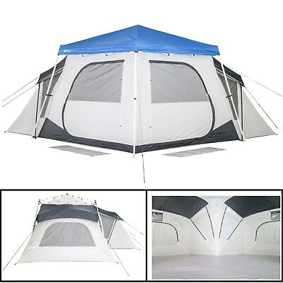 Ozark Trail 14 Person Connecticut Hanging Tent 3 Rooms C&ing Weatherproof Tent  sc 1 st  PicClick & EASY OZARK Trail 14-Person 4-Room Big People Base Camp Tent Large ...