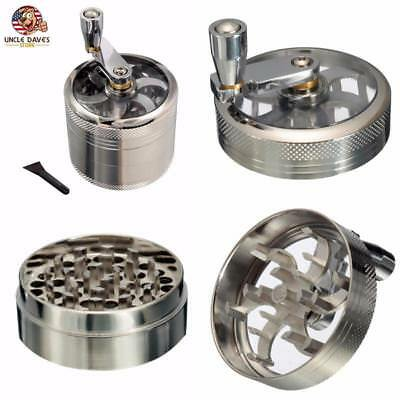 Tobacco Herb Spice Grinder Crusher Hand Crank Muller Mill 4 Layer Aluminum Alloy