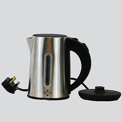 Electric Steel Kettle Cordless Jug Hot Water Tea Pot Silver 0.8 Litre Camping