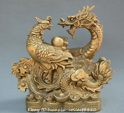 Chinese fengshui old Bronze carve dragon phoenix auspicious yuanbao money statue