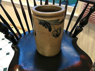 Antique Stoneware Jar Beautiful Cobalt Blue floral Decoration PA or MD Remmey?