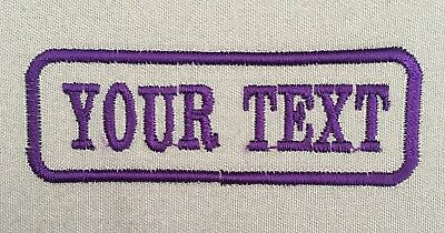 1 Line Grey Twill Cloth Personalised Name Patch Badge Biker Scooter Iron Sew On