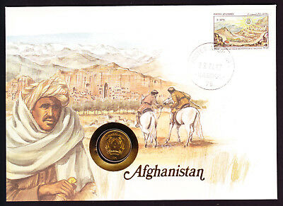 1987 Afghanistan Middle stamp & coin on cover Native Man Horses Mountains Nature