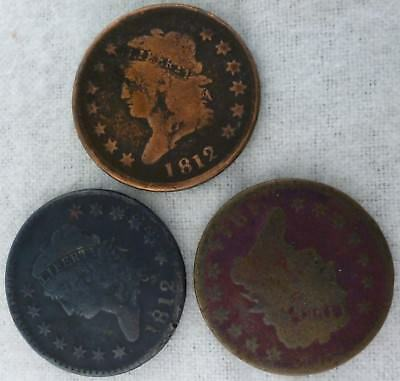 1812 Classic Head Large Cent (x2) 1814 Classic Head Large Cent