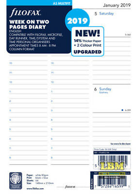 Filofax 2019 A5 size Diary - Week On Two Pages  Multi-Fit Insert 19-68521M