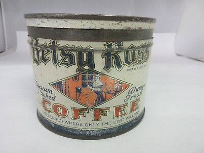 Vintage Betsy Ross Brand  Coffee Tin Advertising Collectible Graphics  M-06