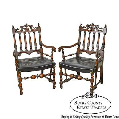 Jacobean Style Solid Walnut 1920s Vintage Pair of Carved Arm Chairs