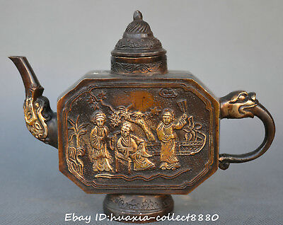 Chinese old bronze carve gilding beautiful woman man dragon head wine pot Teapot