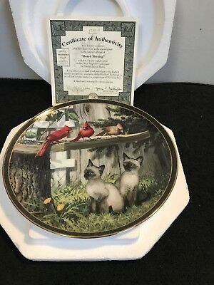 Bradford Exchange Board Meeting Siamese Cardinal Plate: With Box & COA