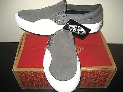 6690a94a713c Vans Slip on Pro Womens Rubber Pewter Grey White Suede Canvas shoes Size 8  NWT