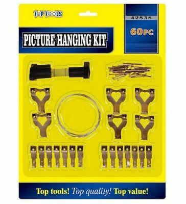 60PC Picture Hanging Kit Mirror Photo Frame Hooks Brass Nail Level Wire Wall