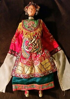 "Antique Hand-made Chinese Empress Opera Doll/Puppet in Red Dragon Dress 18"" tall"