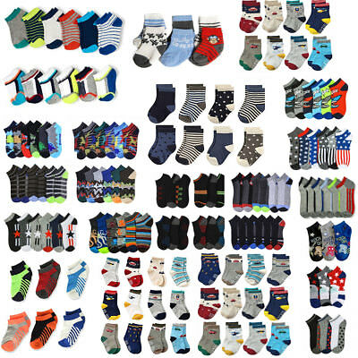 Lot 12 pairs Children Kids Little Baby BOY Assorted Colors Ankle Socks Size 4-6
