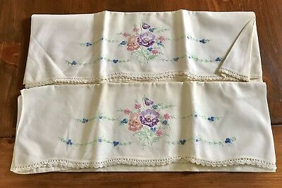 Pair Of Vintage Hand Embroidered Pillow Cases Flower Design