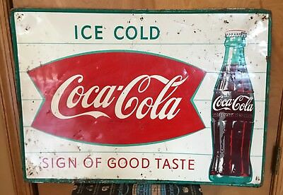 Vintage Fishtail Coca Cola Tin Sign Sign Of Good Taste Country Store Soda Coke