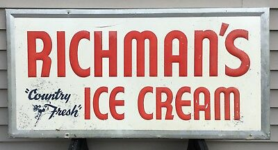 Vintage Embossed Richman's Ice Cream Sign 11-59 Country Store With Cow