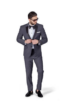 Charcoal Grey Slim Fit Tuxedo 2 Button Satin Collar Flat Front Pants BY AZAR MAN