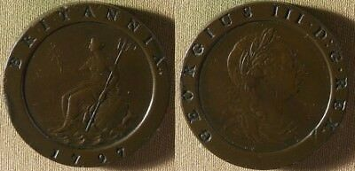 Great Britain : 1797 1 Penny VF-XF  Few Rim Dings + Dings On Face  #619   IR8624