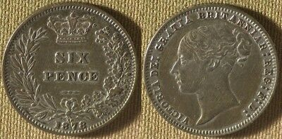 Great Britain : 1878  Six Pence  XF-  Nice   #751.1    IR8623