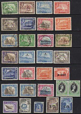 Aden and States 1939/51 range of 58 values mint and used