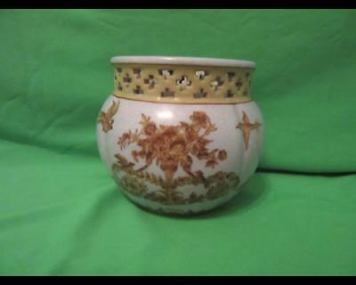 Miniature Antique French Planter or Cachepot Urns Flowers Birds Reticulated