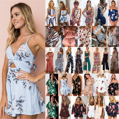 UK Boho Womens Off Shoulder Holiday Shorts Playsuit Dress Summer Beach Jumpsuit