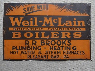 WEIL-McLAIN SCIENTIFIC COMBUSTION BOILERS HEAVY METAL SIGN
