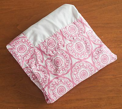 "Dwell Studio Baby Girls Cotton Pink & White Medallion Floral Crib Skirt 50""x 27"""