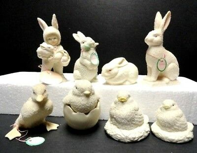 LOTof 8 DEPT 56 SNOWBUNNIES~ SNOWBABY~ CHICKS~ RABBITS~ 1992 -96++  some w/TAGS