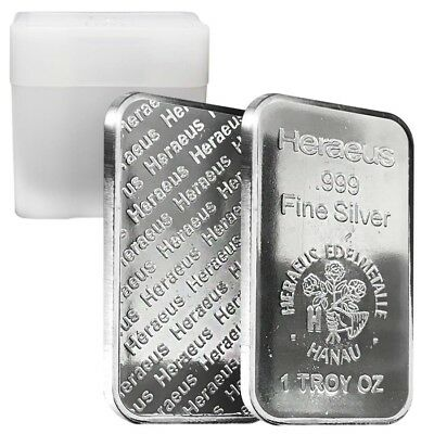 Roll of 20 - 1 oz Heraeus Silver Bar .999 Fine (Tube,Lot of 20)