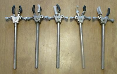 Lot of 5 Fisher Size Small 3-Prong 3-Finger Laboratory Lab Clamps
