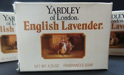 Vintage YARDLEY of LONDON ENGLISH LAVENDER SOAP 4.25 Ounce New Old Stock 4 bars