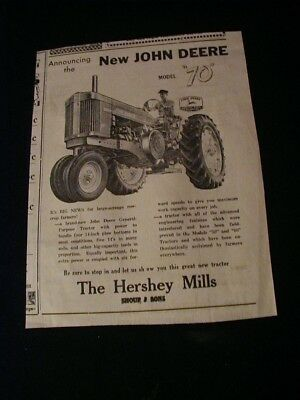 1954 hershey mills newspaper ad john deere model 70 tractor paper clipping ad