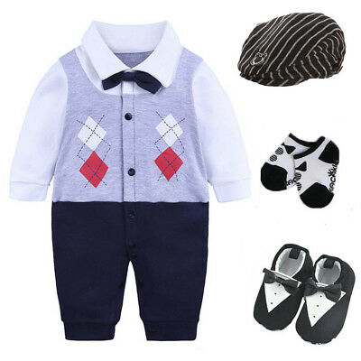Newborn baby boy party birthday gift bodysuit+hat+socks+shoes baby Easter gift