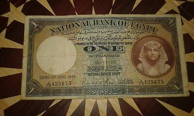 Old egyptian money1948 egypt1 pound, very rare,Great view of King Tutankhamon