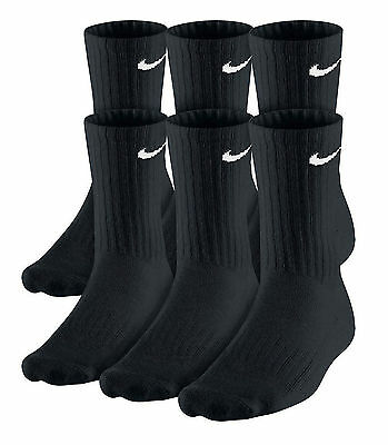 NWT 6 PAIRS pack BLACK NIKE CREW PERFORMANCE CUSHIONED cotton SOCKS SIZE L 8-12
