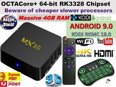 *2018* MX10 Android 8.1 Wifi  4GB RAM TV BOX KODI 18.0 OCTA Core Media Player