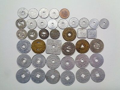 39 Vintage Metal Fare and Sales Tax Tokens Lot