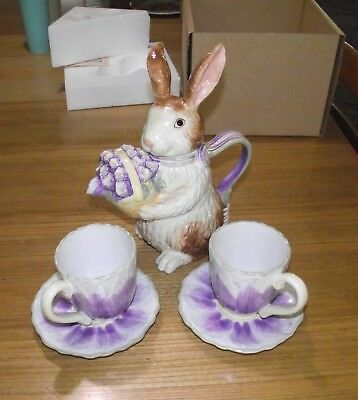 Longaberger Bunny Teapot and matching Crocus Tea cups and Saucers