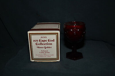 Avon Red Ruby Glass - 1876 Cape Cod Collection Water Goblet with Candle